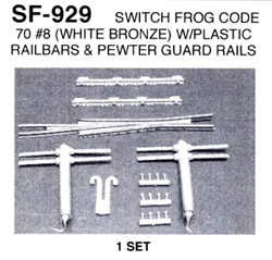 Details West HO Switch Frog Code 55 #7 W//Switch Points Pewter Guard Rails SF-936
